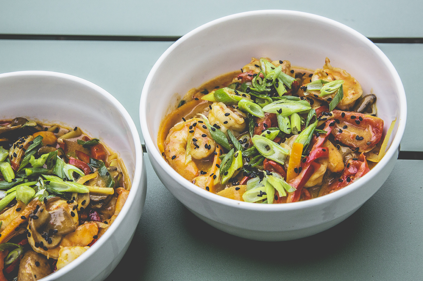 Thaise curry met scampi